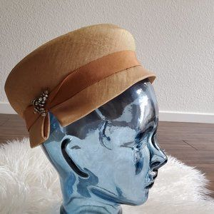 vintage 1960s beige hat with an embelishment